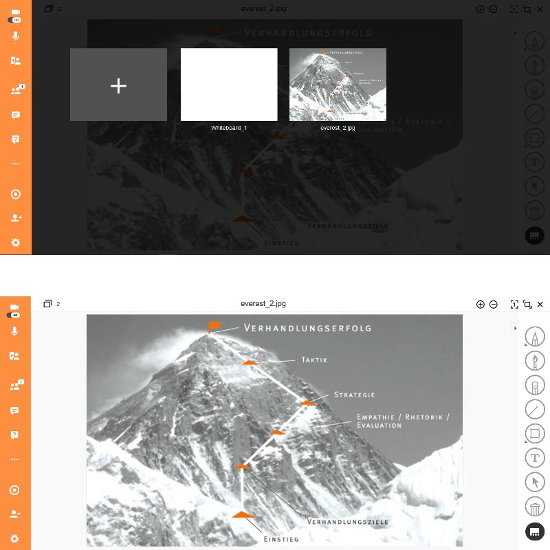 Screenshots des virtuellen Raums mit einer Visualisierung der EVEREST-Methode® zur Verhandlungsführung vom Einstieg bis zum Gipfel.